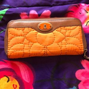 Fossil Orange Long Quilted Wallet